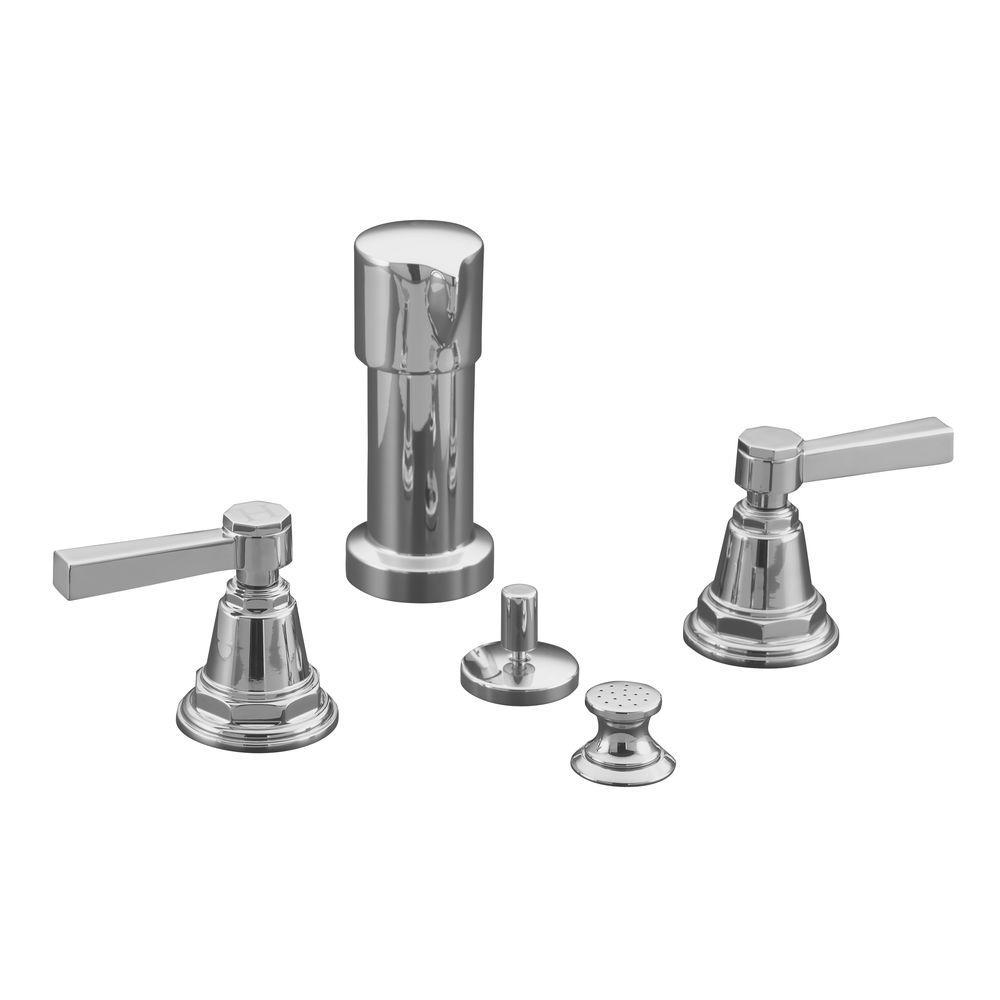 KOHLER Pinstripe 2-Handle Bidet Faucet in Polished Chrome-K-13142-4A ...