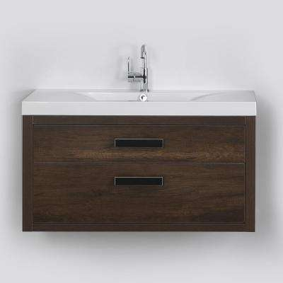 39.4 in. W x 19.4 in. H Bath Vanity in Brown with Resin Vanity Top in White with White Basin