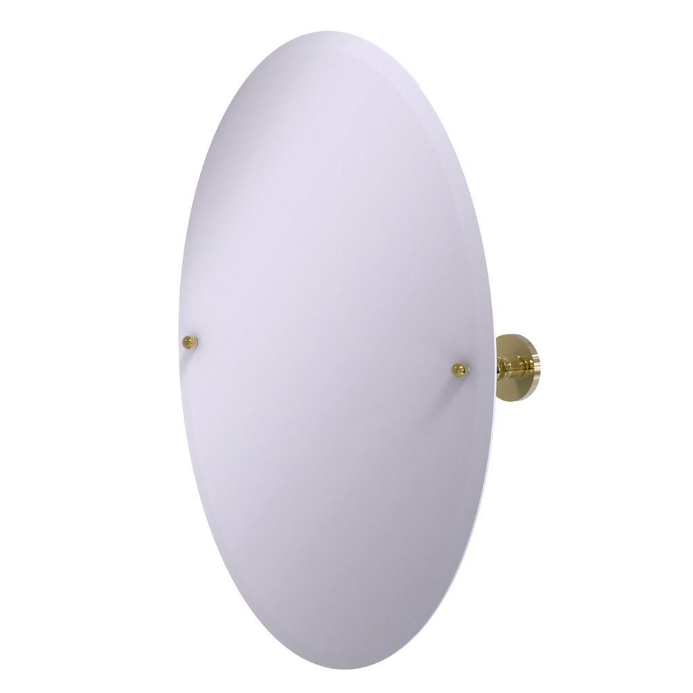 Prestige Skyline Frameless Oval Tilt Mirror with Beveled Edge in Unlacquered Brass