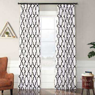Pinnacle White and Black Flocked Faux Silk Curtain - 50 in. W x 120 in. L