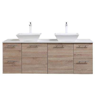 Luxury 72 in. W x 21 in. D x 26 in. H Vanity in White-Oak with Glassos Vanity Top in White with White Double Basin
