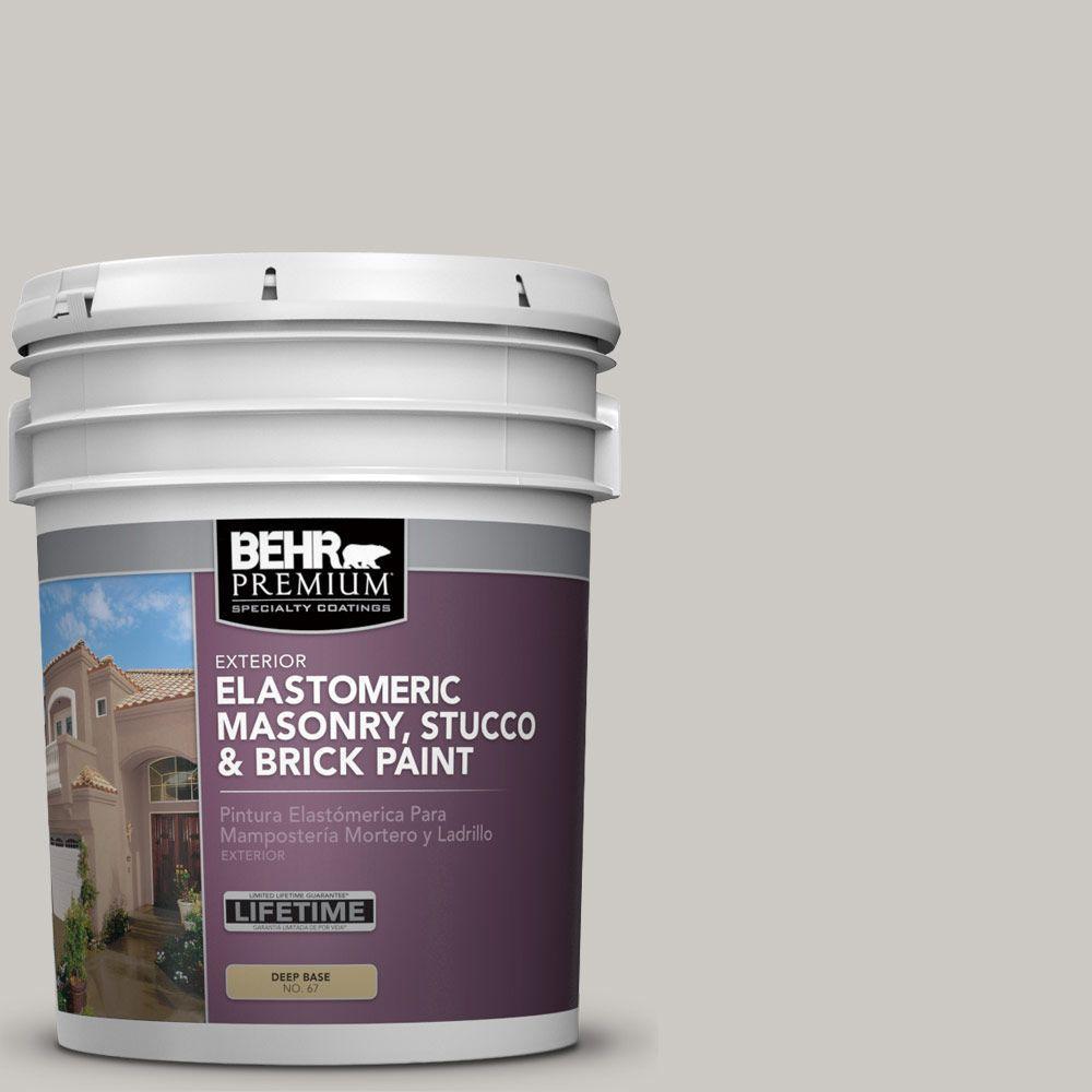 5 gal. #MS-79 Silver Gray Pebble Elastomeric Masonry, Stucco and Brick Exterior Paint