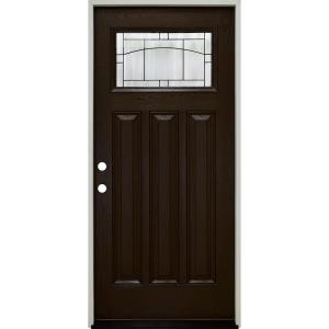 Steves sons 36 in x 80 in craftsman knox top lite right hand inswing hickory stained for Prehung hickory interior doors
