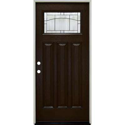 36 in. x 80 in. Craftsman Knox Top Lite Right-Hand Inswing Hickory Stained Fiberglass Prehung Front Door 4-9/16 Frame