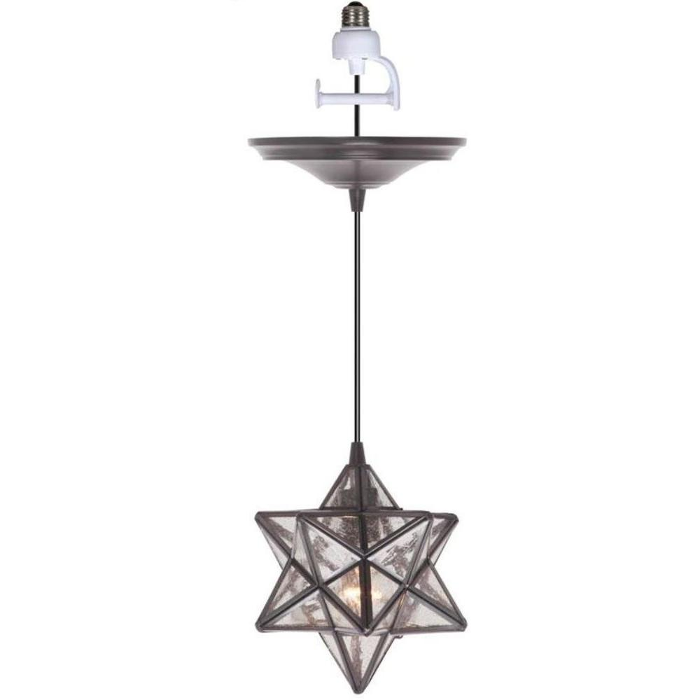 Worth Home Products Instant Pendant 1-Light Recessed Light Conversion Kit Brushed Bronze Moravian Star Shade