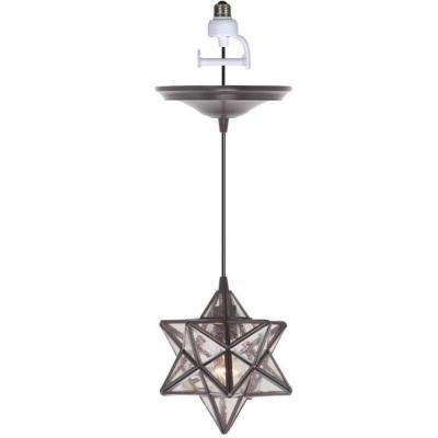 Instant Pendant 1-Light Recessed Light Conversion Kit Brushed Bronze Moravian Star Shade