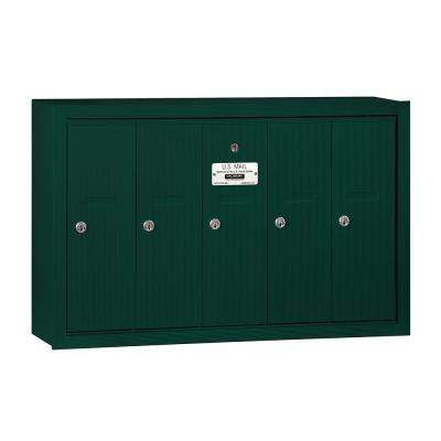 3500 Series Green Surface-Mounted Private Vertical Mailbox with 5 Doors