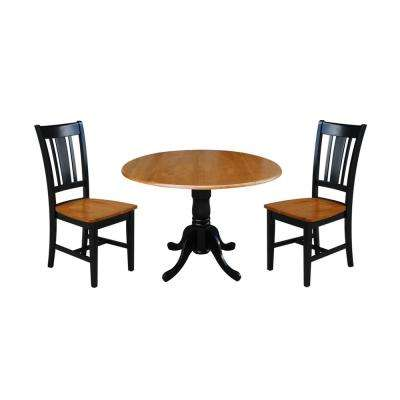 3-Piece 42 in. Black and Cherry Drop-leaf Table and San Remo Chair Set
