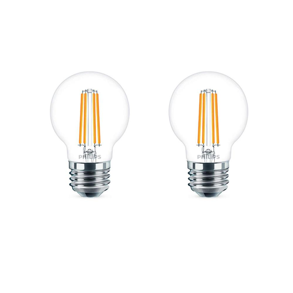 Philips 40-Watt Equivalent G16.5 Dimmable LED Light Bulb Soft White Globe (2-Pack)