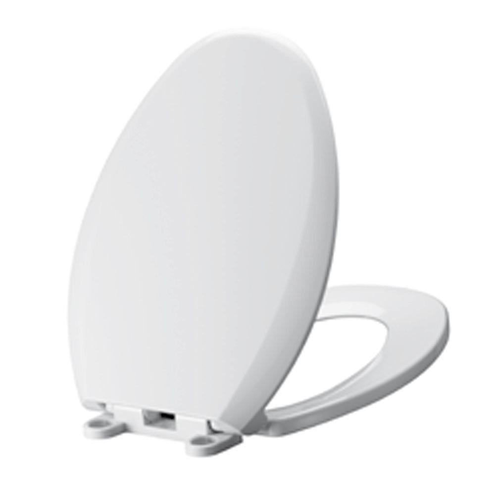 Cadet Slow Close EverClean Elongated Closed Front Toilet Seat in White