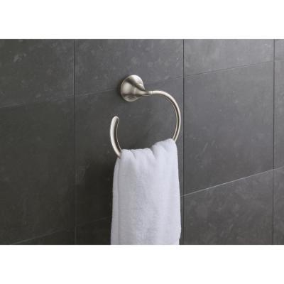 Forte Sculpted Towel Ring in Vibrant Brushed Nickel