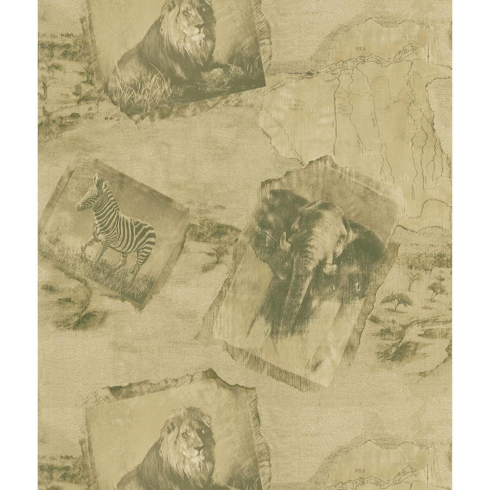 Safari Beige Animal Kingdom Wallpaper Sample