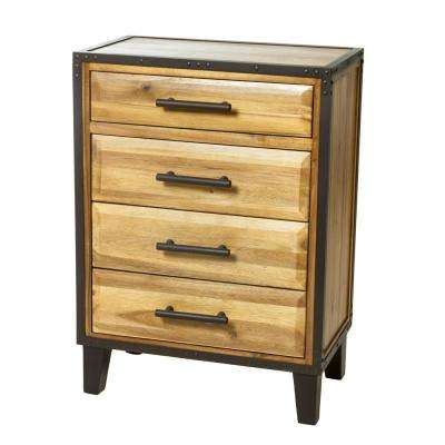 4-Drawer Stained Brown Chest