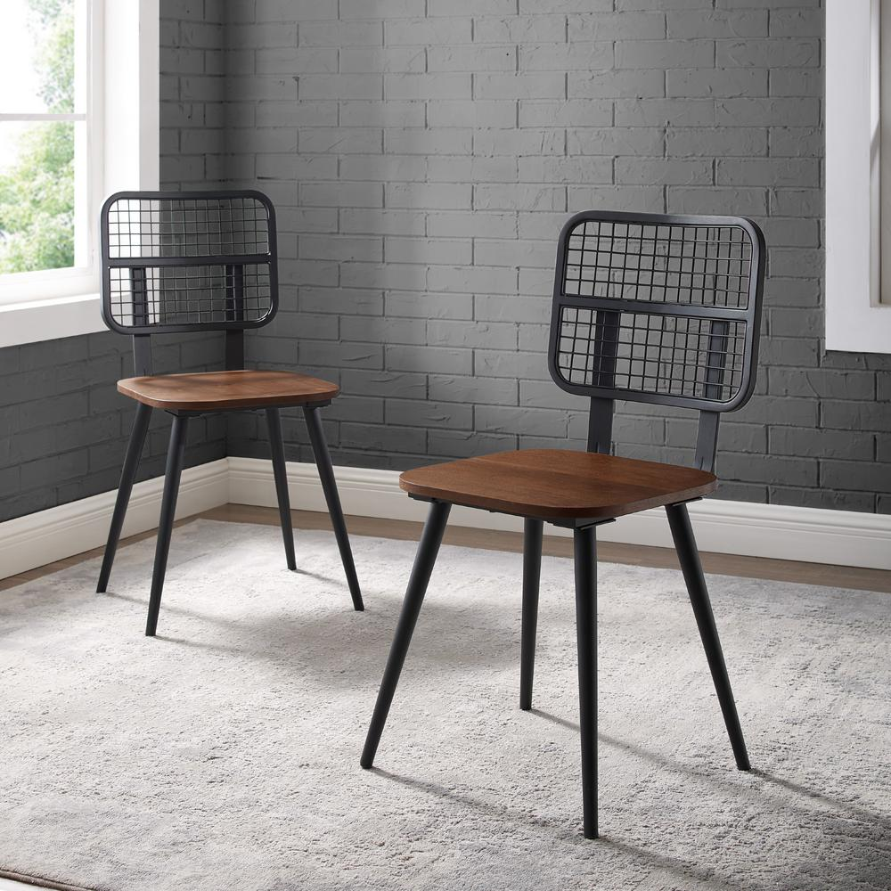 Welwick Designs Dark Walnut Industrial Mesh Back Dining Chair (Set of  10)-HD10 - The Home Depot