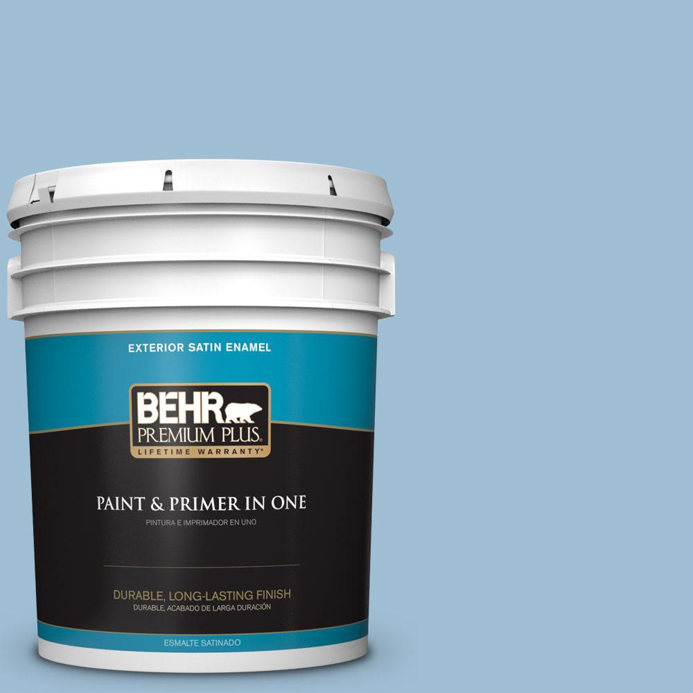 5 gal. #PPU14-11 Gentle Sky Satin Enamel Exterior Paint