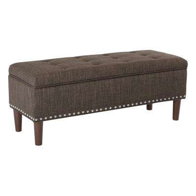 Bryant Taupe Fabric with Coffee Tapered Legs with Antique Bronze Nailheads Bench