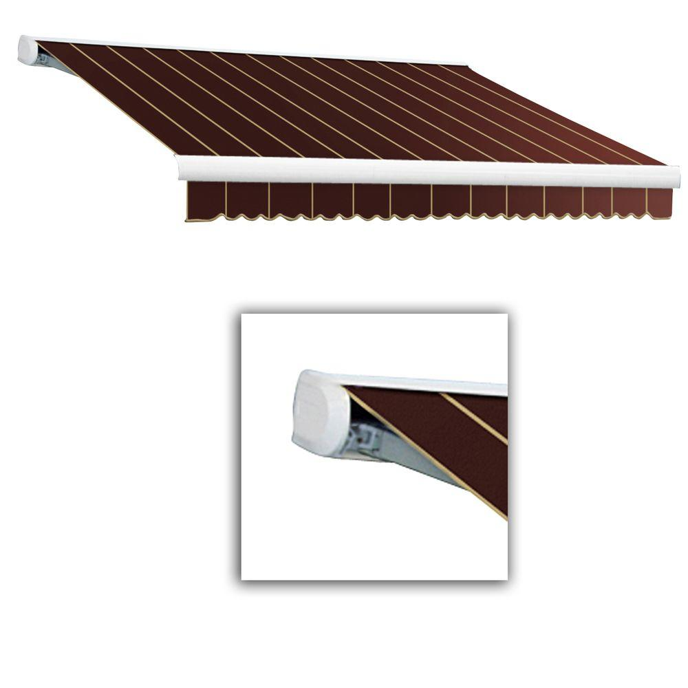 AWNTECH 12 ft. Key West Full-Cassette Right Motor Retractable Awning with Remote (120 in. Projection) in Burgundy Pin