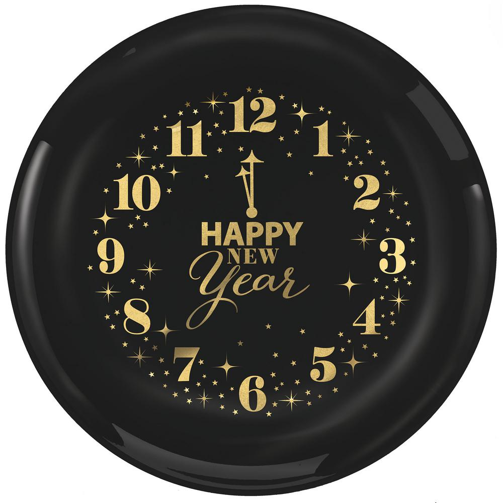Amscan New Year\'s 9 in. Large Plastic Clocks Plates (12-Count, 2 ...