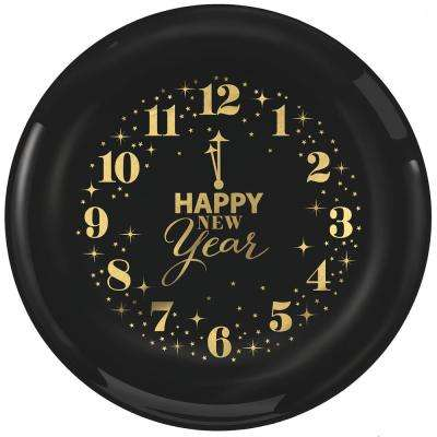 New Year's 9 in. Large Plastic Clocks Plates (12-Count, 2-Pack)