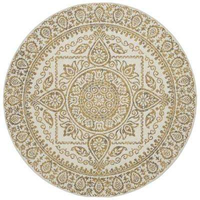 New Casa Aubosson Yellow 5 ft. x 5 ft. Round Area Rug