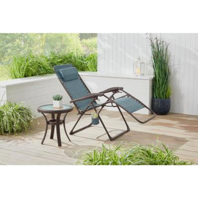Mix and Match Dark Taupe Folding Zero Gravity Steel Outdoor Patio Sling Chaise Lounge Chair in Conley Denim Blue