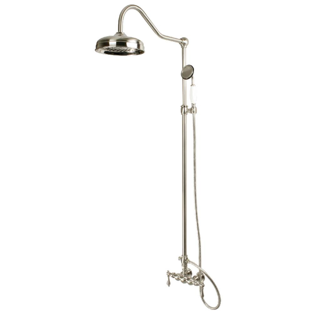 Kingston Brass 2-Handle 1-Spray Shower Claw Foot Tub Faucet with Handshower in Brushed Nickel (Valve Included)
