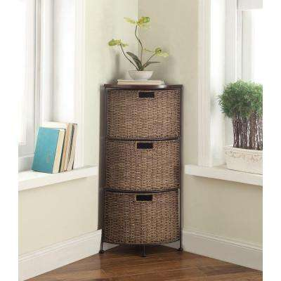 Farmington Corn Husk Weave 3-Tier Corner Chest