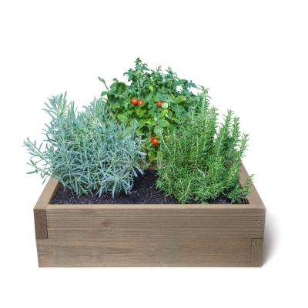 24 in. x 24 in. Gray Rustic Raised Garden Bed Kit