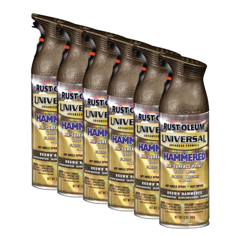 Rust-Oleum Universal 12 oz. Gloss Brown Hammered Spray Paint (6-Pack)-DISCONTINUED