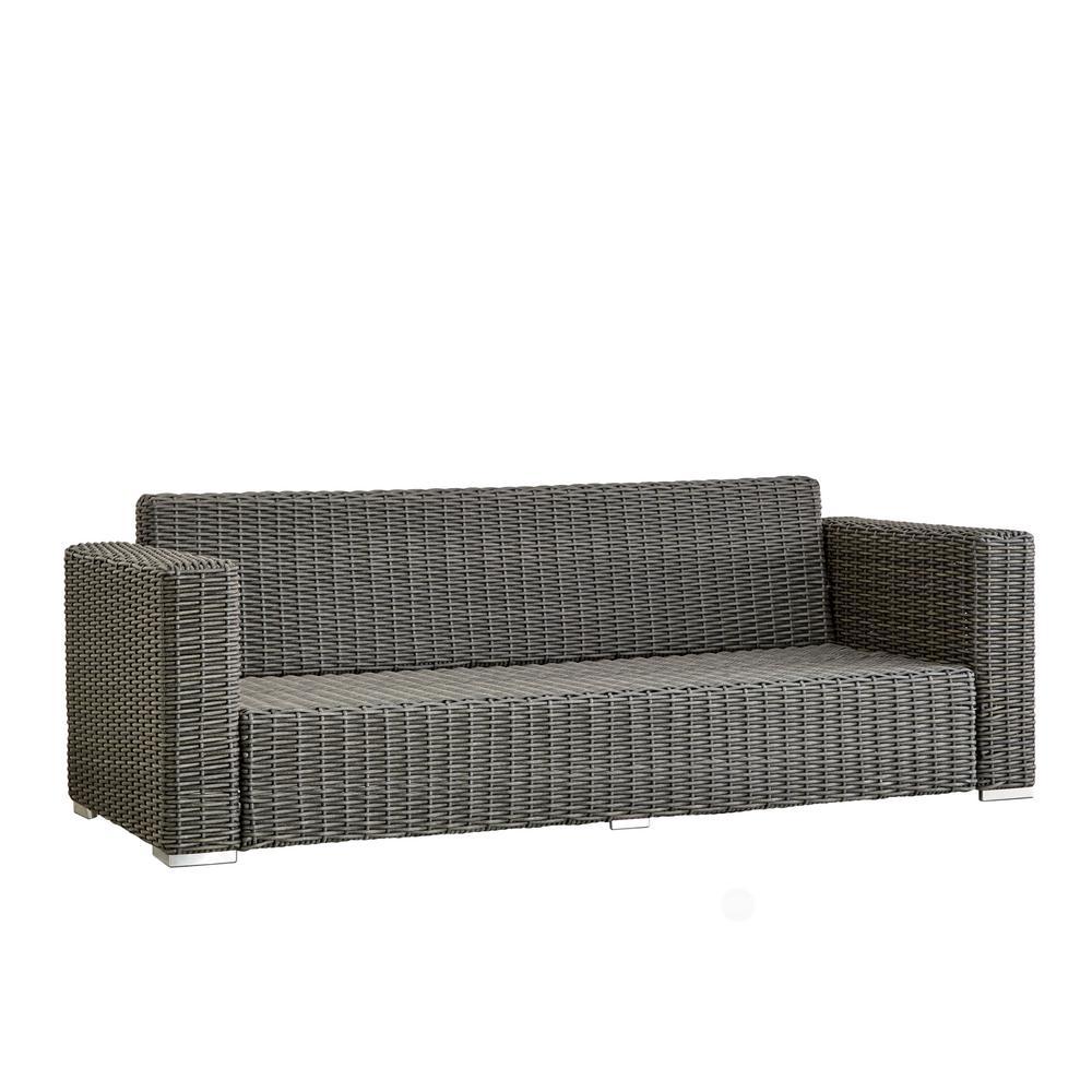 Camari Charcoal Square Arm Wicker Outdoor Sofa
