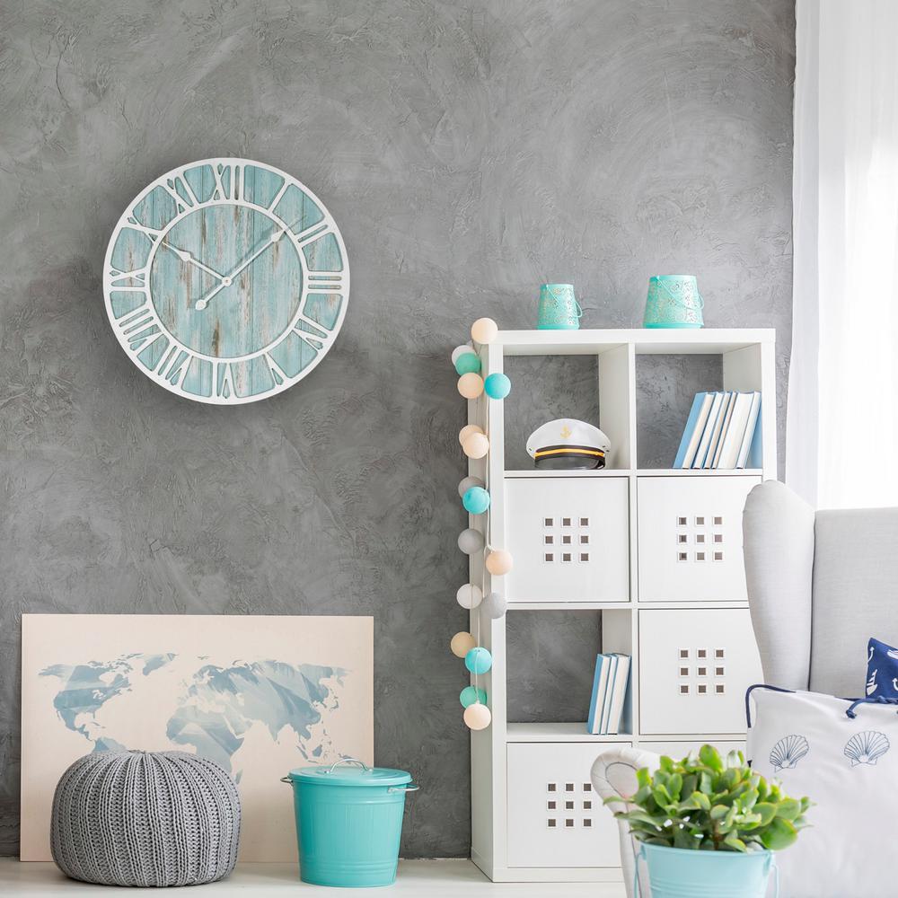 23.5 in. Round Coastal Decorative Quartz Wall Clock