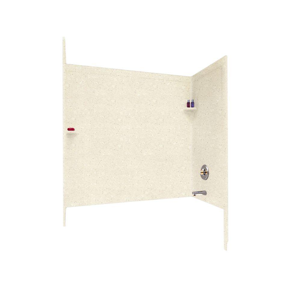 Swan 33-1/2 in. x 60 in. x 60 in. 3-Piece Easy Up Adhesive Tub Wall in Pebble