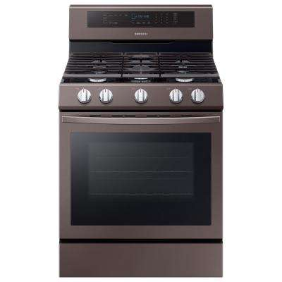 30 in. 5.8 cu. ft. Single Oven Door Gas Range with Illuminated Knobs with True Convection Oven in Tuscan Stainless Steel
