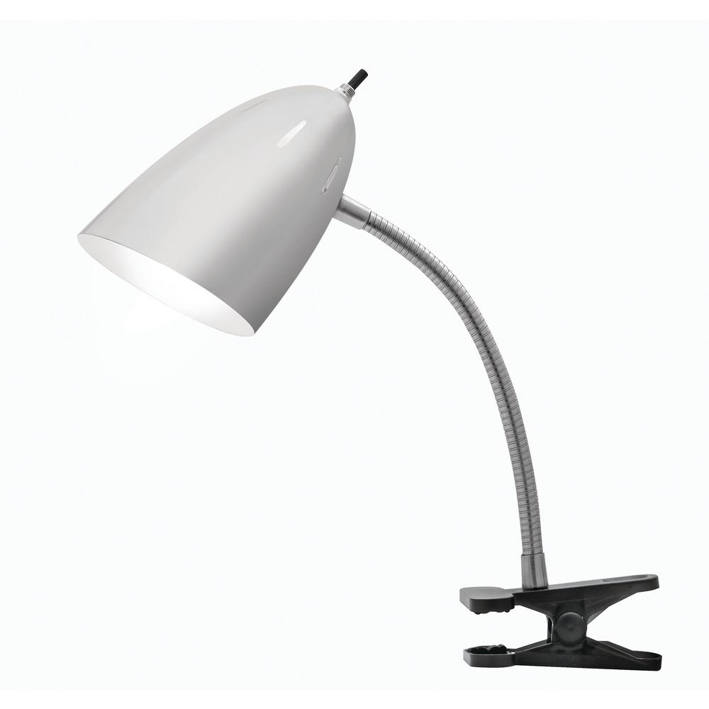 Catalina Lighting 19 in. Brushed Steel Desk Lamp with Bla...