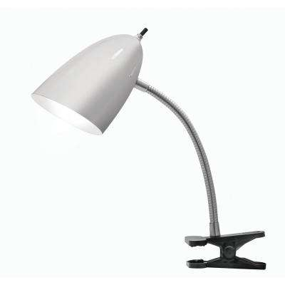 19 in. Brushed Steel Desk Lamp with Black Clip and LED Bulb Included
