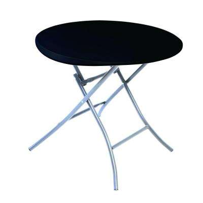 33 in. Black Plastic Portable Folding Bar Table