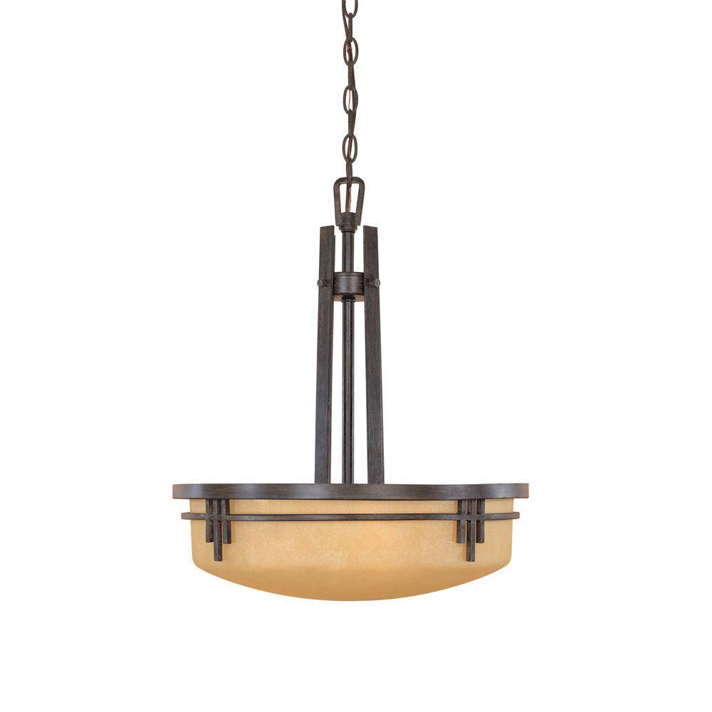 Designers Fountain Mission Ridge 3-Light Warm Mahogany Hanging/Ceiling Light