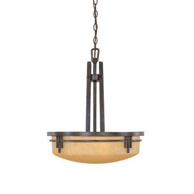 Mission Ridge 3-Light Warm Mahogany Hanging/Ceiling Light