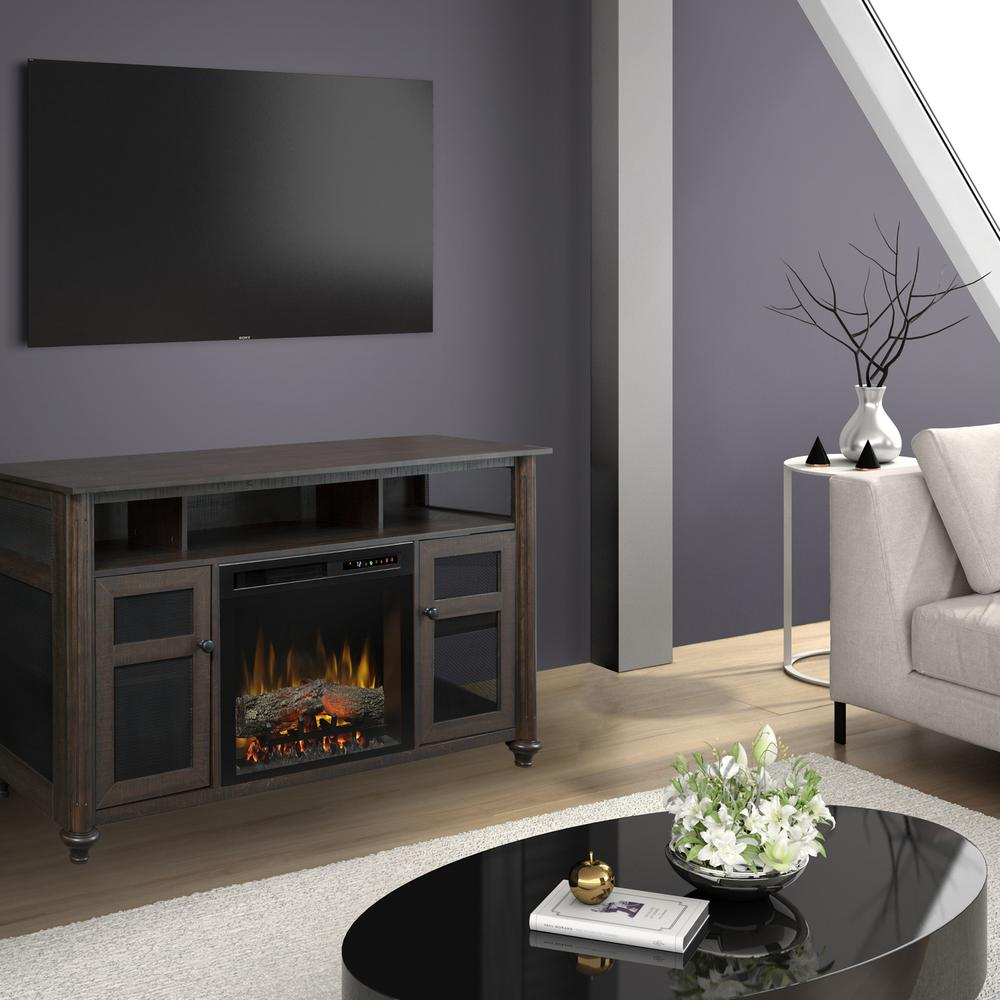 Dimplex Xavier 56 in. Electric Fireplace and Log Set in Warm Grainery Brown with 23 in. Media Console