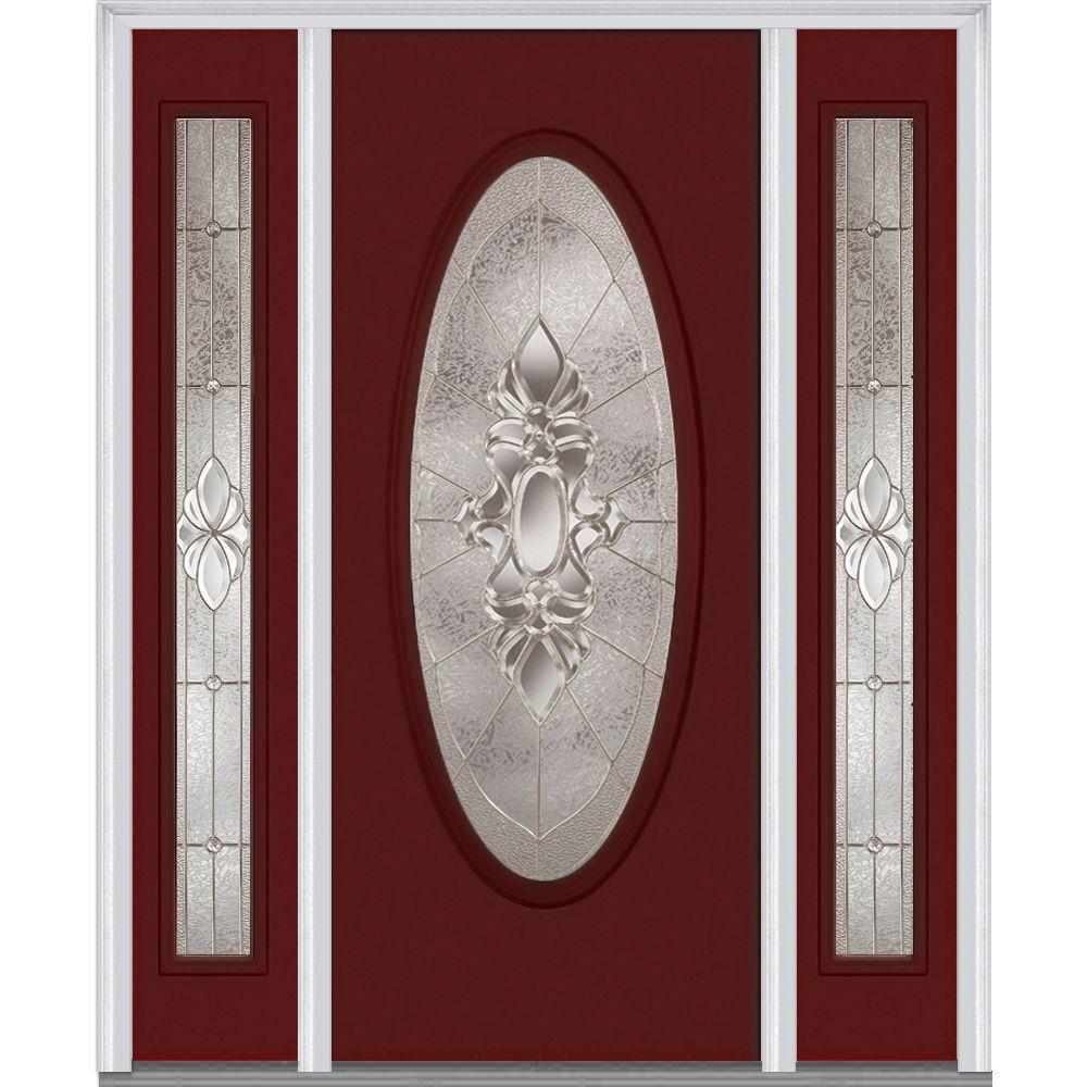 64.5 in. x 81.75 in. Heirlooms Left-Hand Oval Lite Decorative Painted Fiberglass Smooth Prehung Front Door w/ Sidelites