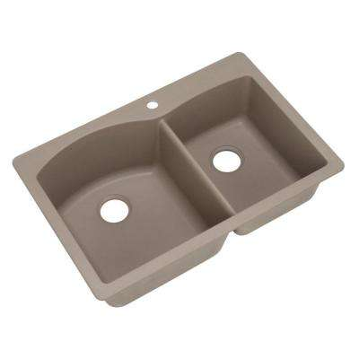 Diamond Dual Drop-in Undermount Composite 33 in. 1-Hole Double Bowl Kitchen Sink in Truffle