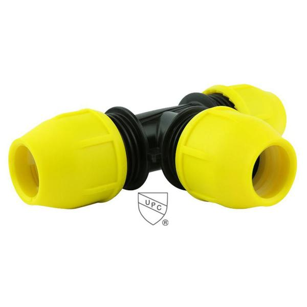 2 in. IPS DR 11 Underground Yellow Poly Gas Pipe Tee
