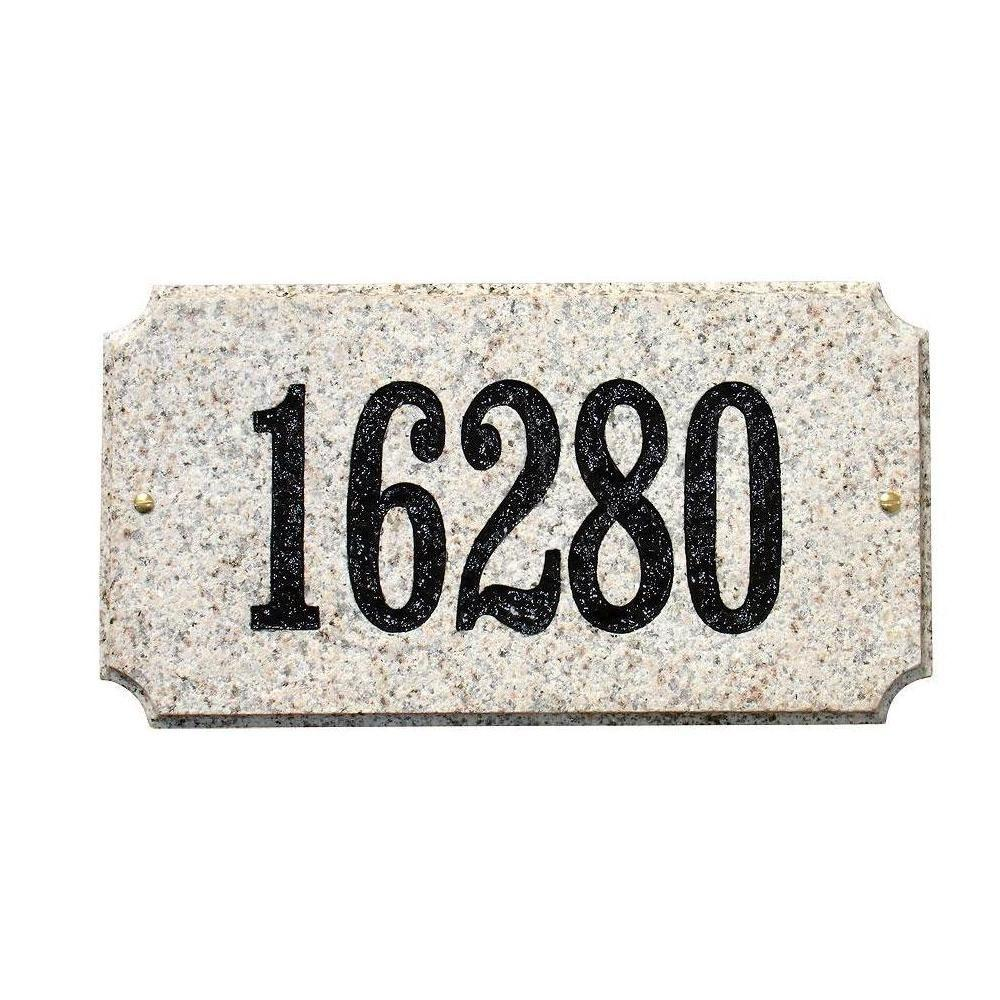 QualArc Executive Rectangular Granite Address Plaque in Autumn Leaf Natural Stone Color