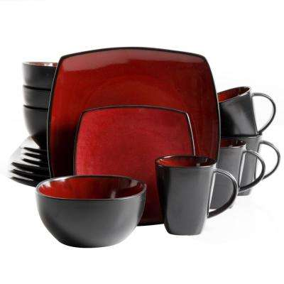 Essential Home Monaco 16-Piece Red Dinnerware Set
