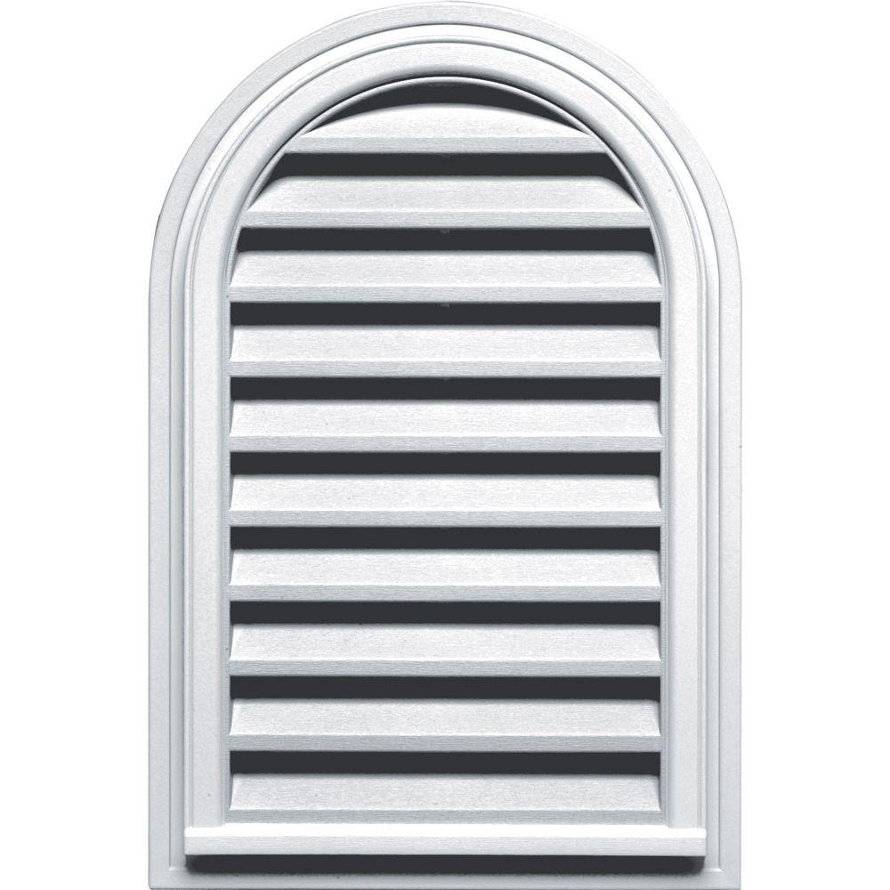 Builders Edge 22 in. x 32 in. Round Top Gable Vent in White