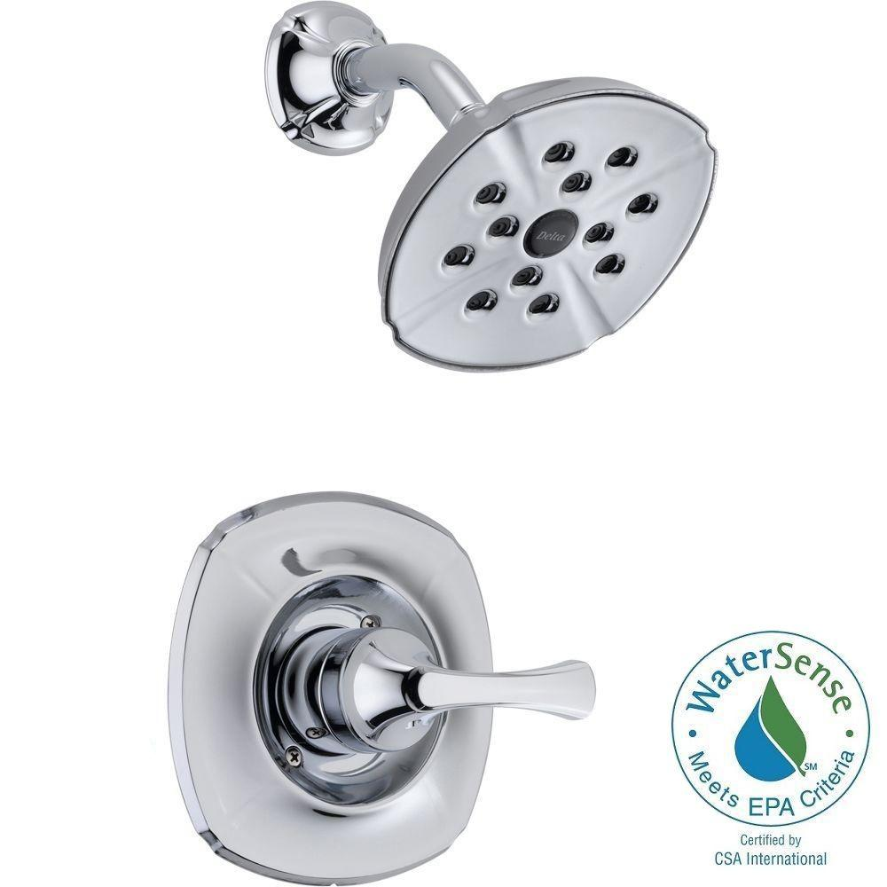 Delta Addison 1-Handle 1-Spray Shower Faucet Trim Kit Only in Chrome Featuring H2Okinetic (Valve Not Included)