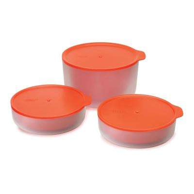 M-Cuisine 3-Piece Microwave Bowl Set in Orange with Cool Touch