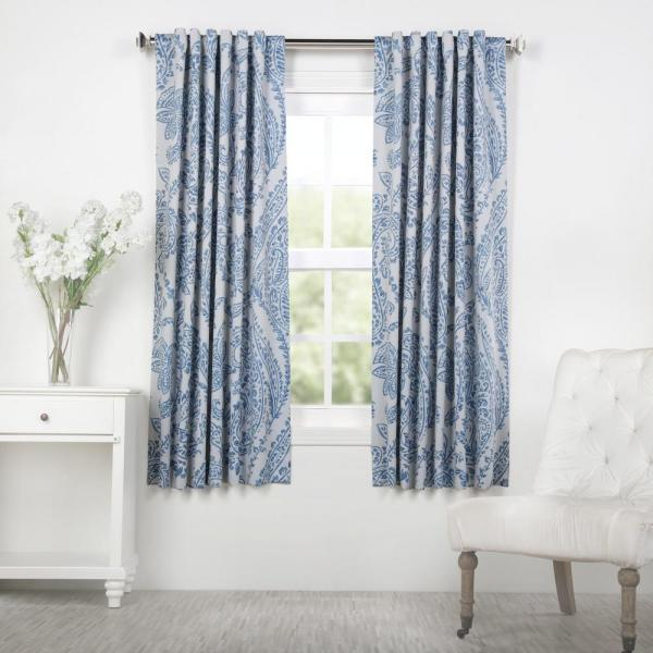 Tea Time China Blue Blackout Curtain - 50 in. W x 63 in. L