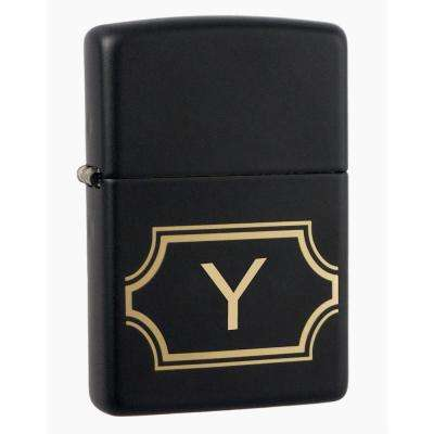 "Black Matte Lighter with Initial ""Y"""