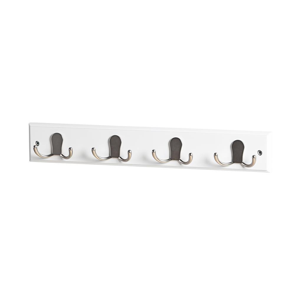 Mascot Hardware 17-5/7 in. L Satin Nickel Twin Robe 4-Hooks on White Hook Rail